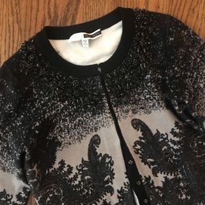 Tracy Reese beaded paisley cardigan vintage style